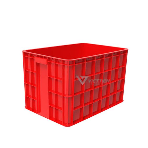 Thùng nhựa đặc HS026 đỏ