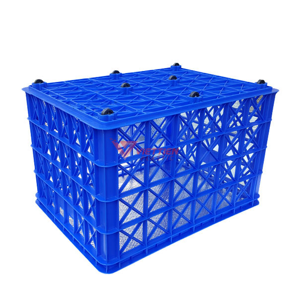 thùng nhựa rỗng hs022 có 8 bánh xe _lật úp