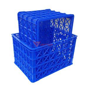 thùng nhựa rỗng hs022 có 8 bánh xe_lồng vào nhau