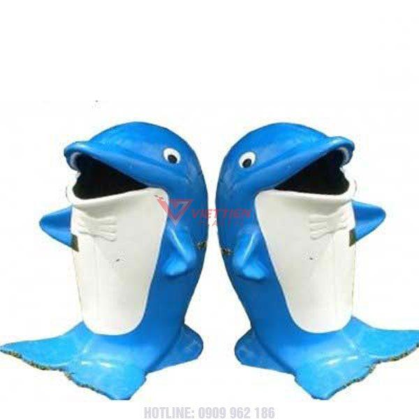 Thùng rác cá heo xanh
