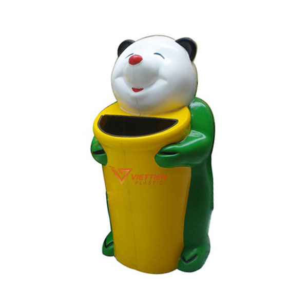 thùng rác gấu trúc màu xanh