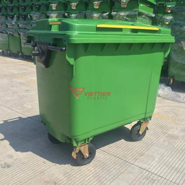 Thùng rác 660 lít HDPE màu xanh