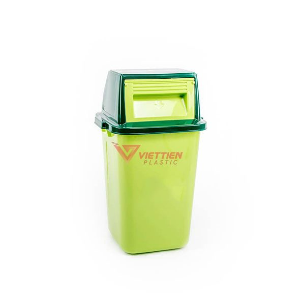 thùng rác nắp lật 42 lít màu xanh