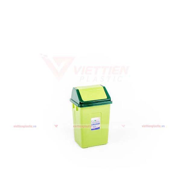 Thùng rác nắp lật nhỏ màu lá