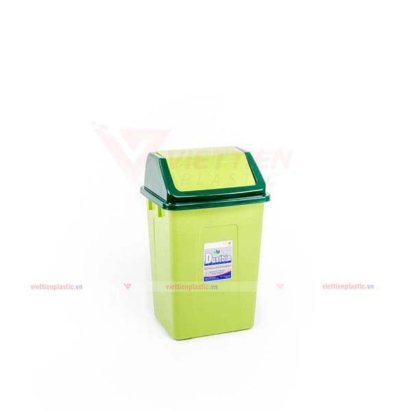 Thùng rác nắp lật trung màu lá