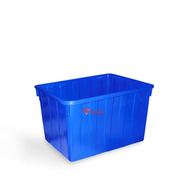 thùng nhựa chữ nhật 160l xanh dương