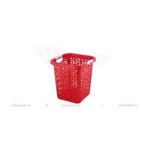 Sọt rác vuông nhí - đỏ