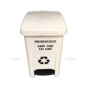 Thùng rác y tế đạp chân 15 lít màu trắng
